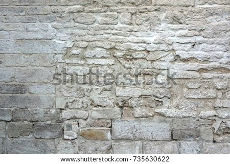 Gray Dirty Rustic Stone Wall Rough Stonewall Surface Old Weathered Painted Background Texture