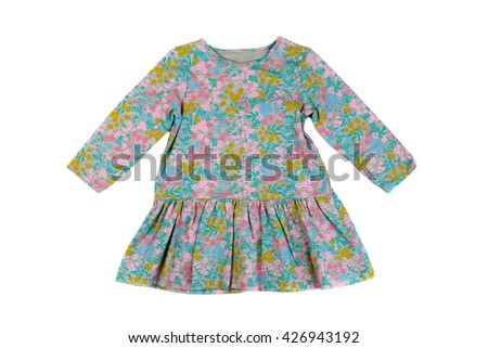 Gray dress in floral pattern. Isolate on white. - stock photo