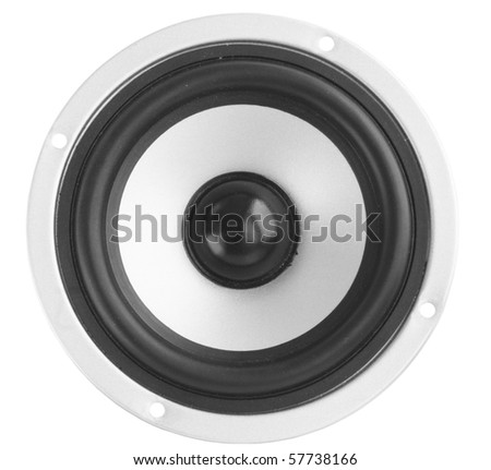 gray dynamic loudspeaker/the musical acoustic equipment - stock photo