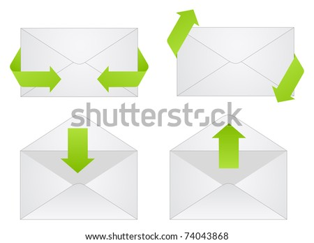 Gray envelope icons isolated on a white background. - stock photo