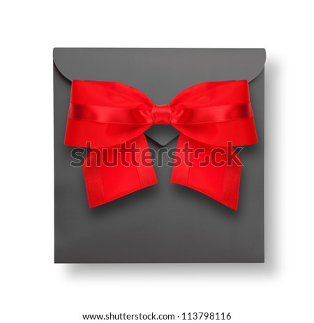 Gray envelope with red bow and shadow (clipping path) - stock photo