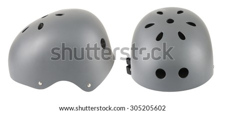 gray extreme helmet with 2 side isolated on white background
