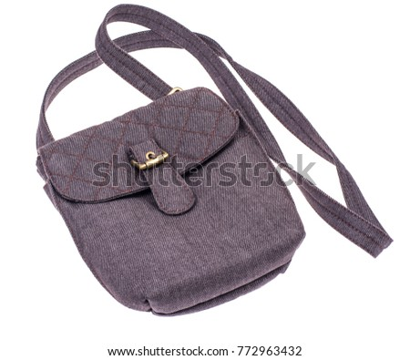 Gray fabric bag with long strap. Studio Photo