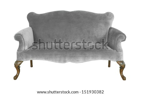 gray felt sofa isolate on white background - stock photo