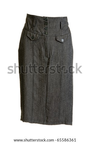 Gray feminine skirt with button on white background