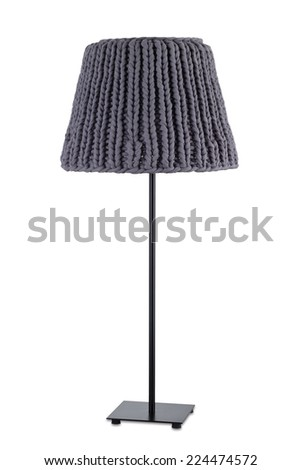 Gray floor lamp, isolated on white background.  - stock photo