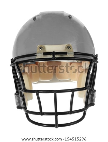 Gray football helmet in front view isolated over white background - With Clipping Path - stock photo