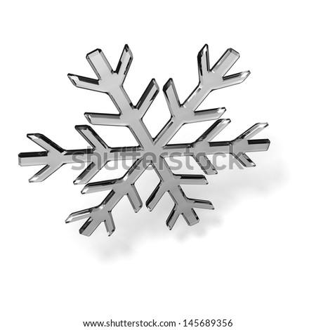 Gray glass snowflake on white - stock photo