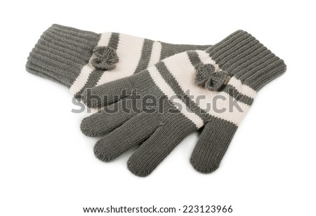 Gray gloves on a white background