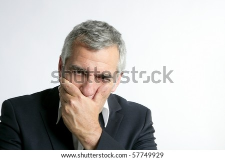 gray hair sad worried senior businessman expertise man isolated on white - stock photo