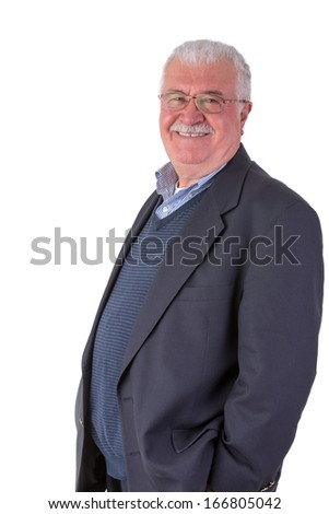 Gray hair senior with mustache adult looking at you genuinely happy and satisfactory with his glasses and his dark blue suit - stock photo