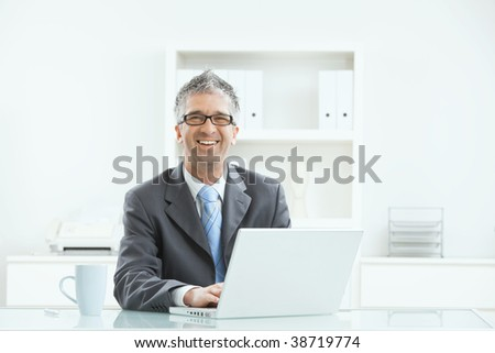 Gray haired executive businessman working on laptop computer at desk, in office.