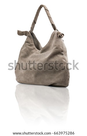 Gray handbag on reflected surface.Isolated on white background.
