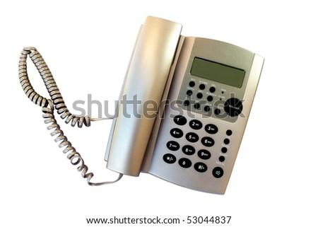Gray Home Phone Isolated - stock photo