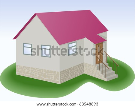 gray house with red roof and outbuilding