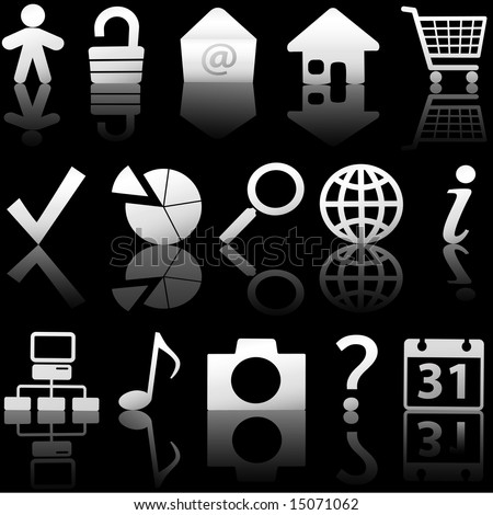 Gray Icon Symbol Set: Globe Security Question Email People, etc. On black with reflections. Includes clipping paths.