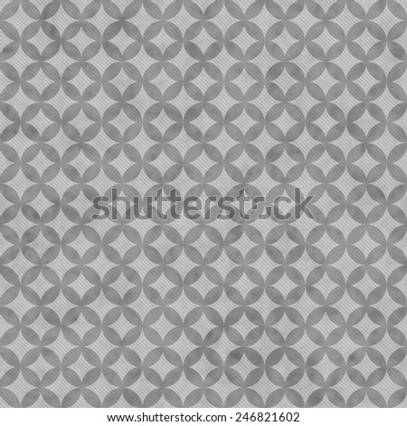 Gray Interconnected Circles Tiles Pattern Repeat Background that is seamless and repeats - stock photo