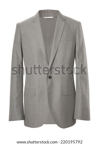 gray jacket isolated on white - stock photo