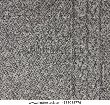gray knitted fabric - stock photo