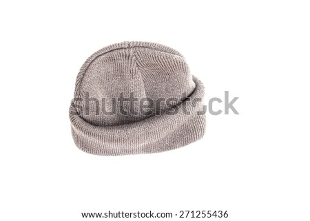 Gray knitted hat isolated on white background.