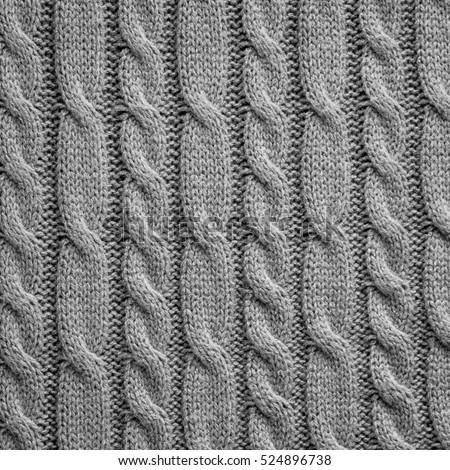 Gray Knitting Wool Texture Background Stock Photo