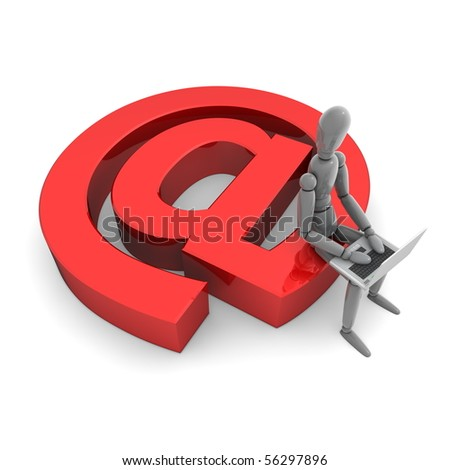 gray lay figure is sitting on a shiny red AT symbol using a laptop - stock photo