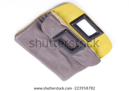 gray leather case isolated on white background - stock photo