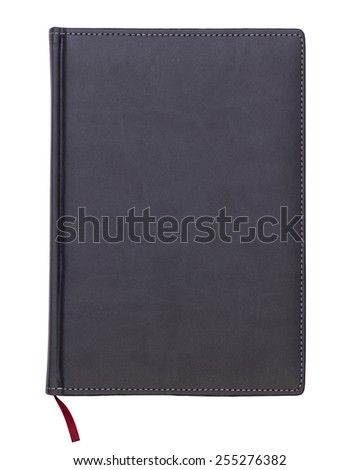 Gray leather notebook isolated on white background - stock photo