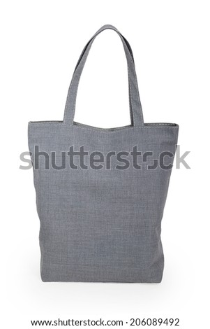 Gray linen bag isolated on white background - stock photo