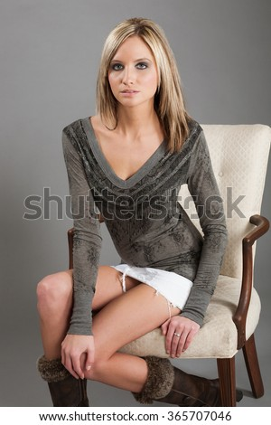 Gray long sleeve shirt with skirt - stock photo