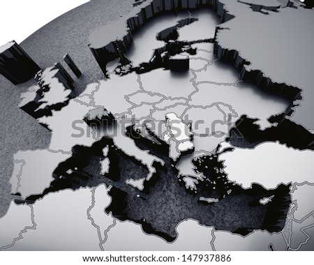 gray map of europe arched on sphere. 3d render - stock photo