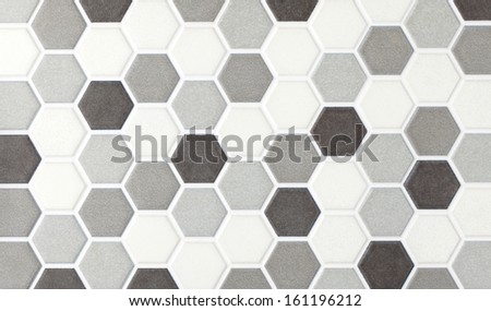 gray marble hexagonal tiles - stock photo