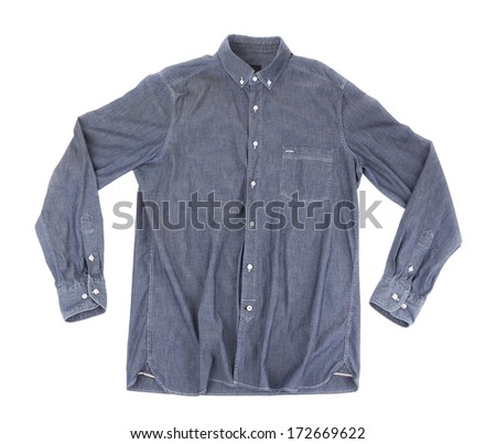 Gray Mens Shirt. On a white background. - stock photo