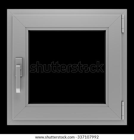 gray metallic window isolated on black background - stock photo