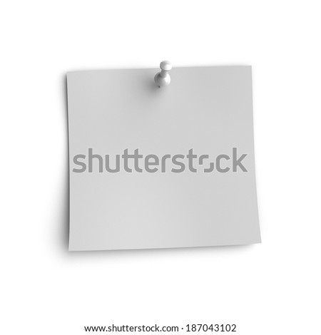 Gray note paper with gray pin, Isolated on white background. - stock photo