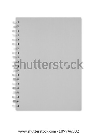 Gray notebook isolated on white background - stock photo