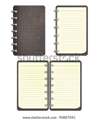 Gray notebook on white background