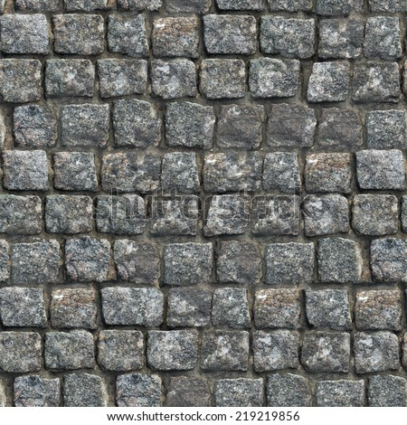 Gray Old Paving Stone Closeup. Seamless Tileable Texture. - stock photo