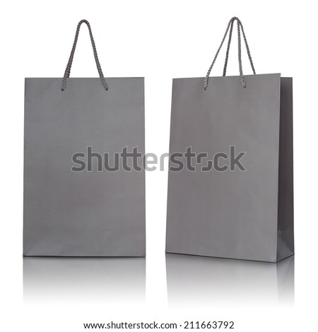 Gray paper bag on white background - stock photo