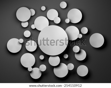 gray Paper circle banner with drop shadows. 3D render - stock photo