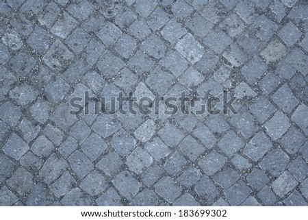 Gray paving stones as background, top view - stock photo
