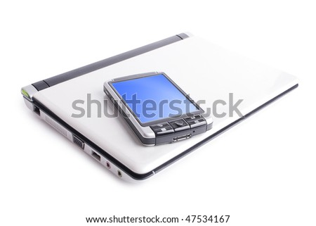 gray PDA with white notebook on white background (close up)