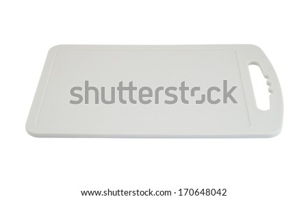 Gray plastic cutting board isolated on white