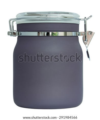 gray plastic jar isolated on white with clipping path - stock photo