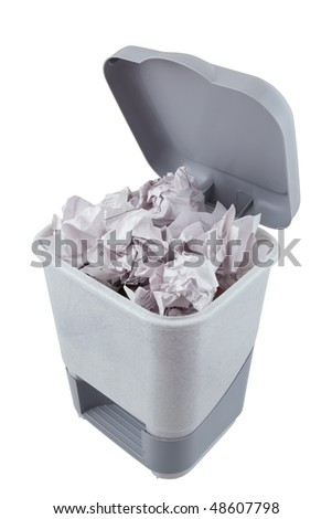 Gray plastic trashcan Filled  by paper with opened cover isolated on white. Full container of waste. - stock photo