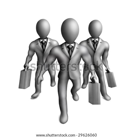 Gray plasticine figures of businessmen on a white background - stock photo