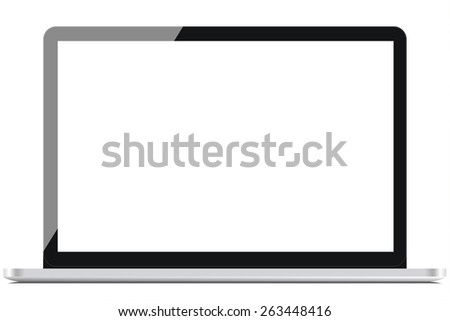 Gray portable computer with clipping path. Front view. Clipping path for the laptop and screen.  - stock photo