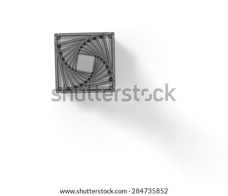 Gray pyramid on white - stock photo