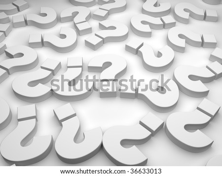 gray question marks on white background - stock photo