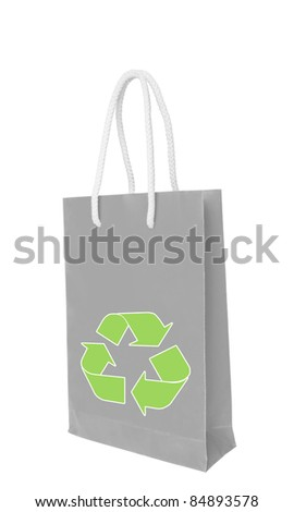 Gray recycle paper shopping bag over white floor